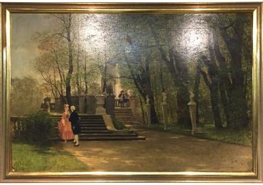 Oil Painting by P F Flickel in the Castle Garden, Tablou cu peisaj de vara, tablou cu parc, tablou cu flori, peisaj din natura, tablou cu indragostiti in peisaj de vara