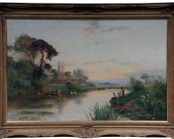 Oil Paintings 19th C  Canterbury Landscape W. Stuart Lloyd View from Castle, Tablou cu peisaj de vara, tablou cu lac, tablou cu peisaj din delta