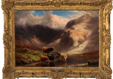 Oil on Canvas Landscape by William Davies, circa 1894, Tablou cu peisaj de vara, tablou cu lac intre munti, peisaj din natura, tablou cu vaci langa rau