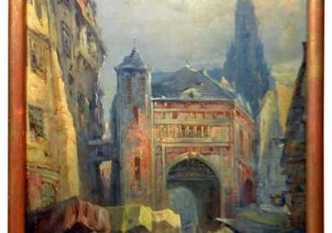 Oil on Canvas Merchant Street Scene, Rouen, France, Tablou cu peisaj urban, tablouri living, picturi in ulei pe panza, picturi cu peisaje