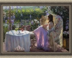 Oil painting art Impressionism girl flower, Tablou cu peisaj de vara, tablou cu parc, tablou cu flori mov, peisaj din natura, tablou cu femeie in peisaj de vara