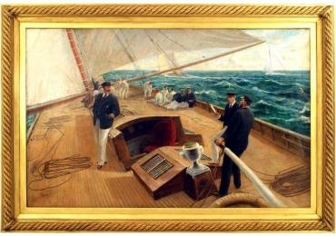 On the Britannia, Oil Painting by Tom Henry, Tablou cu peisaj marin, tablou cu punte de velier, tablou nautic, tablou valurile marii