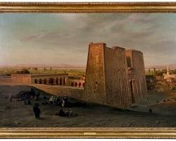 Orientalist Painting of the Temple of Horus at Edfu, by Ernst Karl Koerner, 1888, Tablou cu peisaj  arhitectural, tablou cu monumente istorice