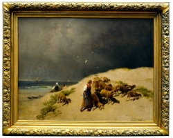 Original Oil Painting by the English Artist James R. Webb, Tablou cu peisaj de vara, tablou cu malul marii, tablou ciobanita cu oi, peisaj din natura, tablou cu femeie in peisaj de vara