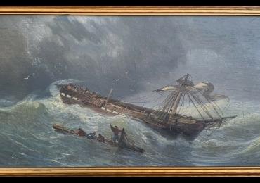 Original Seascape, Nautical Art Paintings, Tablou cu peisaj marin, tablou cuvapoare in largul marii, tablou cu valurile marii, tablou nautic, tablou cu naufragiati