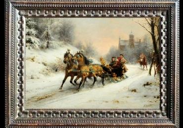 Otto Eerelman, A Royal Ride in the Snow with queen Emma, Tablou cu peisaj de iarna, tablou cu zapada, tablou cu sanie trasa de cai, peisaj din natura