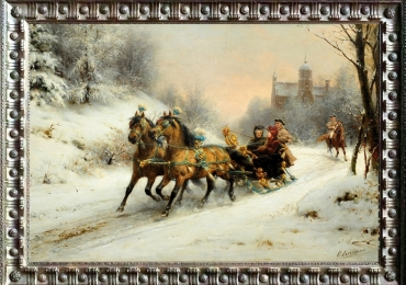 Otto Eerelman, A Royal Ride in the Snow with queen Emma, Tablou cu peisa