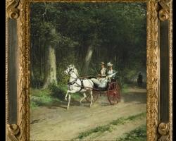 Otto Eerelman, A morning ride in the forest, Tablou cu peisaj de vara, tablou cupadure, tablou cu sareta trasa de cai peisaj din natura, tabloucuplu in peisaj de vara