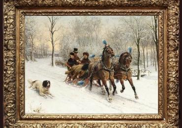Otto Eerelman, A running tour in the Snow, , Tablou cu peisaj de iarna, tablou cu oameni in sanie trasa de cai, tablou cu zapada, peisaj din natura