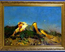 Otto Vaeltl, Shepherd Boy, old masters artworks, tablou peisaj de vara, tablou cu baiat intins in iarba, Tablouri Pictori Celebri, Reproduceri