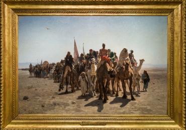 Pélerins allant à la Mecque, Tablou cu peisaj din desert, tablou cu oameni calare pe camile, tablou cu piramide, tablou peisaj de vara