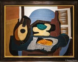 Pablo Picasso, Mandolin, fruit bowl, bottle and bread, 1924, Tablouri cu mandolina vas cu fructe
