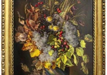 Painting Autumn Leaves Bouquet by Emil Fiala, Vienna, 1930s, Vas cu fiori, tablou cu flori de gradina, tablou floral