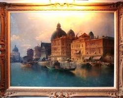 Painting Landscape of Venice, Tablou cu peisaj Venetian, tablou cu gondole, tablou cu vapoare, tablou nautic, tablou arhitectural, tablou cladiri venetiene