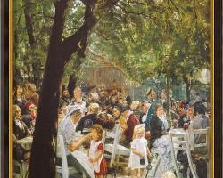 Painting Munich Beer Garden 1884, Tablou cu peisaj de vara, tablou cu oameni parc, tablou peisaj din natura, tablou cu femeie  copii si barbati in peisaj de vara