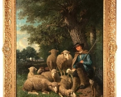 Painting by Guillaume Wintz, Tablou cu peisaj de vara, tablou cu cioban cu oi, tablou cu oi, peisaj din natura, tablou cu ciobanas in peisaj de vara