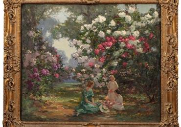 Painting of  Kew Gardens by Augustus W. Enness, Tablou cu peisaj de vara, tablou cu parc, tabloucu flori, peisaj din natura, tablou cu femei in parc