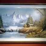 Painting of mountains, cabin and waterfall. Tablou pictat manual in ulei pe pa