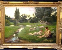 Pan and  Shepherdess, oil on canvas. Beautiful large mythological scene of Pan, Tablou cu peisaj de vara, tablou cu rau  langa padure, peisaj din natura, tablou cu indragostiti
