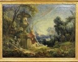 Pastorale ou  Berger gardant ses moutons,  François Bouchertablou peisaj de vara cu cioban, tablou peisaj pastoral,  Reproduceri Celebre