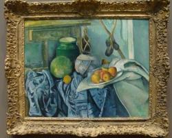 Paul Cézanne French, Still Life with a Ginger Jar and Eggplants, tablou cu natura moarta cu vase de bucatarie si fructe