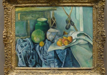 Paul Cézanne French, Still Life with a Ginger Jar and Eggplants, tablou cu natura moarta cu vase de bucatarie si fructe