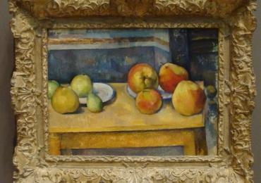Paul Cézanne, Still Life with Apples and Pears, Tablou cu fructe, tablou cu mere, tablou cu pere, tablou cu fructe de toamna asezate pe masa