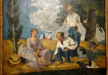 Paul Cezanne La partie de peche, Tablou cu peisaj de vara, tablou cu oameni in parc, tablou peisaj din natura