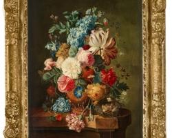 Paul Theodor van Brussel, Still life, Vas cu fiori de gradina si flori de camp, tablou cu flori de toamna, tablou floral