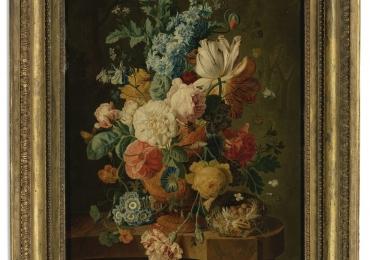 Paul Theodor van Brussel  Still life, Vas cu fiori de gradina, tablou cu flori multicolore, tablou cu flori de toamna, tablou floral