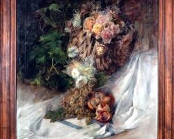 Pedro Sánchez Picazo , Still Life with basket of roses, grapes and pomegranates, Tablouri cu stru