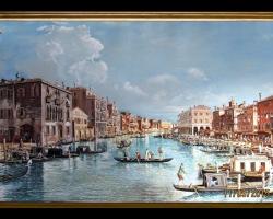 Peisaj Venetian in plin sezon. Tablou pictat manual in ulei pe panza. Peisaj de