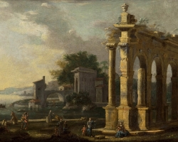 Peisaj arhitectural celebru, Gennaro Greco Landscape with figures and architecture, peisaj cu monumente istorice, peisaj marin, peisaj cu oras roma antica.