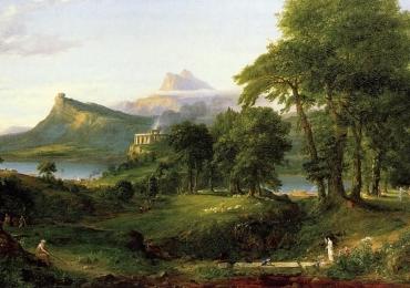 Peisaj celebru, tablou peisaj de munte, peisaj montan, peisaj cu carare prin padure, peisaj pictor celebru Thomas Cole, Tablouri pictori celebri.