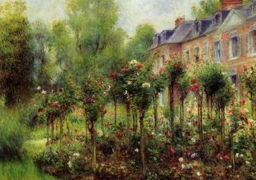 Peisaj cu gradina de trandafiri peisaj celebru Pierre-Auguste Renoir Tablou pictor celebru, pictura celebre, tablou reproducere celebra.