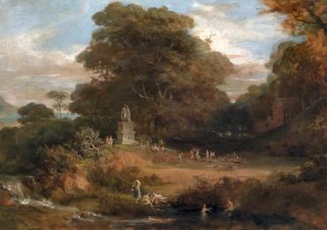 Peisaj cu luminis in padure peisaj cu cascada, peisaj cu oameni, peisaj celebru Friedrich von Amerling, Griechische ideallandschaft Tablouri pictori celebri.