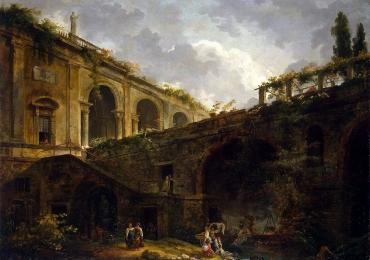 Peisaj cu ruine, Peisaj cu pod, peisaj cu cladiri, Antique ruins Rome landscape Old Bridge, Tablouri pictori celebri, Reproduceri picturi celebre, tablou reproducere celebra.