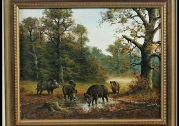 Peisaj de padure cu porci mistreti, Tablou cu peisaj de vara, tablou cu rau in padure, peisaj din natura, tablou cu vaci la islaz