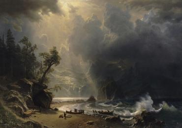 Peisaj marin, Albert Bierstadt, painting with sea landscape clouds mountains rocks shore wave boats, tablou cu mare, tablou cu barci, peisaj cu apa, peisaj cu cer innorat, tablou nocturn.