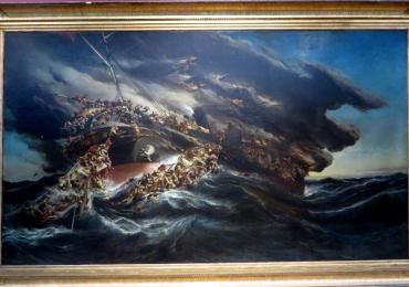 Peisaj marin cu furtuna. L'Incendie du steamer Austria  1858, Eugène Isabey, Boat In A Storm Paintings Shipwreck,