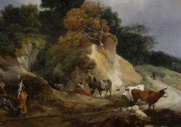 Peisaj pastoral, tablou cu peisaj de vara, peisaj cu animale, peisaj cu vaci, peisaj cu oameni, pictor celebru Thomas Gainsborough, River landscape with a view of a distant village, peisaj cu rau.