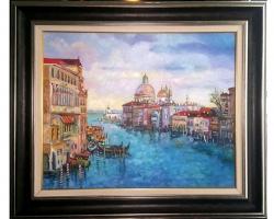 Peisaj venetian, peisaj cu apa, pictura Venetia, tablou pictat ulei pe panza. Tab