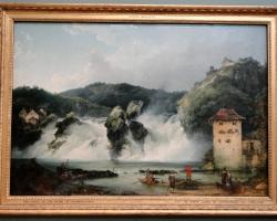 Philippe Jacques de Loutherbourg The Falls of the Rhine at Schaffhausen, tablou peisaj de vara cu cascada, Reproduceri Picturi Celebre