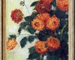 Pictor celebru Claude Monet, Vas cu fiori de gradina, tablou dalii, tablou cu flori de toamna, tablou floral