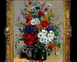 Pictura cu aranjament din flori de camp, Tablou cu flori de maci rosii in vaza, tablou cu aranjament floral cu flori de mac