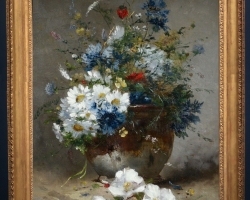 Pictura cu buchet de flori multicolore, Tablou cu flori de maci rosii in vaza, tablou cu aranjament floral cu flori de mac