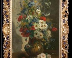 Pictura cu buchet de floricele asezate in vas de lut, ablou cu flori de maci rosii in vaza, tablou cu aranjament floral cu flori de mac