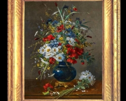Pictura cu buchetel de flori de camp, Tablou cu flori de maci rosii in vaza, tablou cu aranjament floral cu flori de mac
