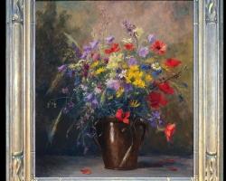 Pictura cu flori de camp, Tablou cu flori de maci rosii in vaza, tablou cu aranjament floral cu flori de mac, Tablou floral, aranjamente  florale