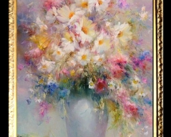 Pictura cu flori de camp, Tablou cu flori delicate, tablou cu flori diafane, tablou cu buchet de flori, Tablou floral, aranjamente  florale